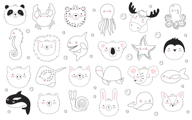 Vector set of cute poster with funny sea animal and text. postcard with adorable marine objects on background, pastel colors. valentine's day, anniversary, baby shower, bridal, birthday