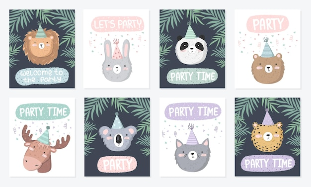 Vector set of cute posters with festive animals at a party and text