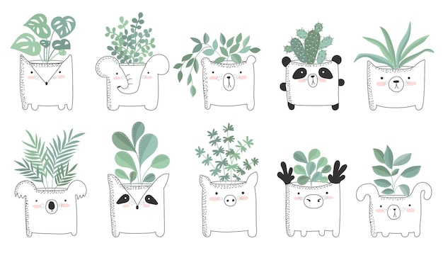 Vector set of cute posters with house plant in funny animal pot. poster with adorable objects on background, pastel colors. valentine's day, anniversary, save the date, baby shower, bridal, birthday