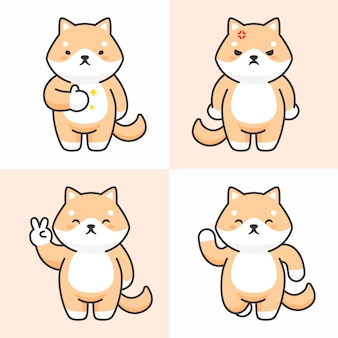 Vector set of cute shiba inu dog characters