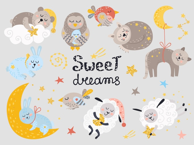 Vector set of cute sleeping animals