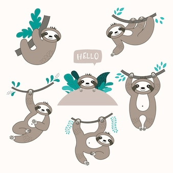 Vector set of cute sloths in different positions.