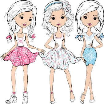 Vector set cute smiling fashion girls in pink, white and blue skirts and shirts