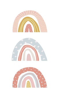 Vector set of cute spring rainbows on an isolated white