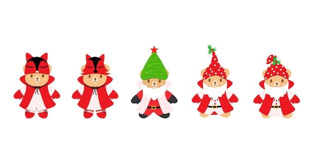 Векторный набор милый плюшевый мишка с различной шляпой древесная лиса и ткань санта-клауса с рождеством