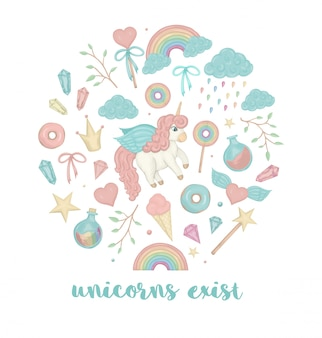 Vector set of cute watercolor style unicorn, crown, crystals, hearts.