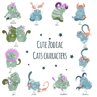 Vector set of cute zodiac cats characters