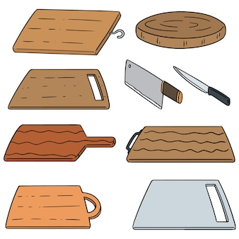 Vector set of cutting board
