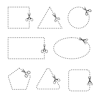 Vector set of cutting scissors. scissors with cut lines, square, triangle, pentagon, rectangle