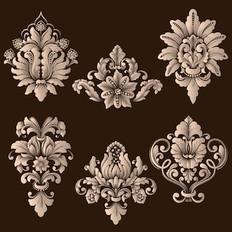 Vector set of damask ornamental elements.