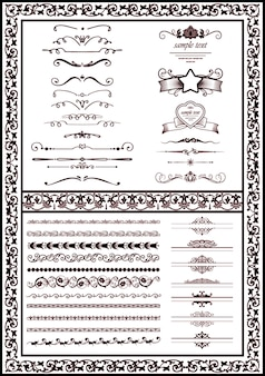 Vector set decorative elements black color