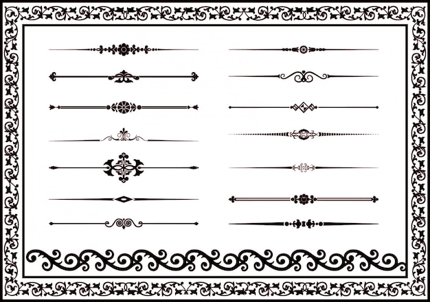Vector set decorative lines elements for design black color