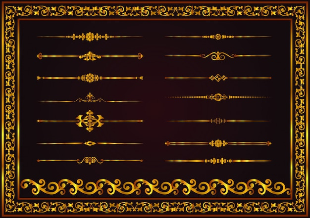Vector set decorative lines elements for design gold color