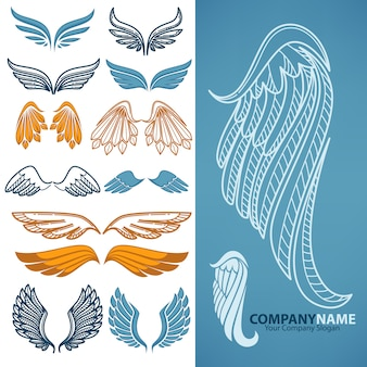 Vector set of decorative wings.
