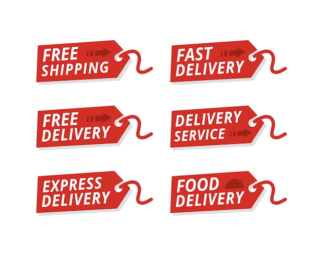 Vector set of delivery service labels