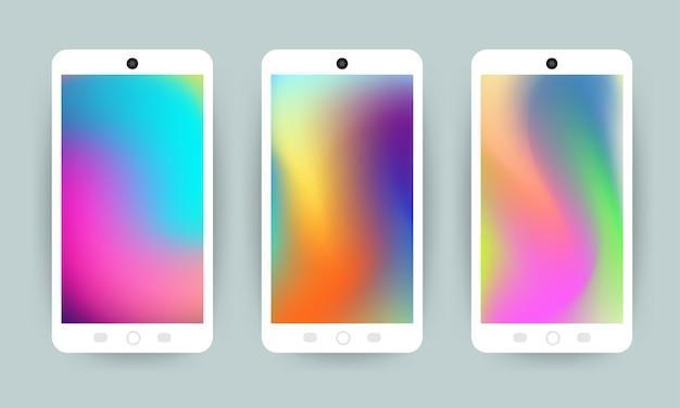 Vector set design concept mobile screen wallpaper holographic fluid bright gradient background