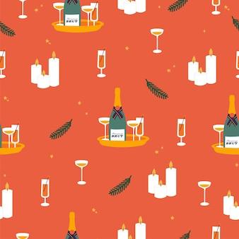Векторный набор дизайн иконок для рождественских поздравлений бесшовные модели зимних праздников элементы дизайна тр ...