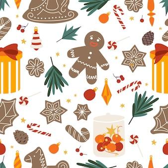 クリスマスの挨拶のシームレスなパターンのベクトルセットデザインアイコン。冬休みのデザイン要素。伝統的なクリスマスの属性