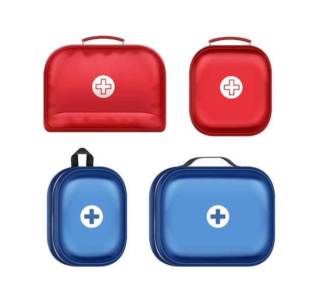 Vector set of different blue and red first aid kit boxes with cross isolated