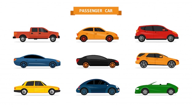 Vector set of different cars isolated. design elements. sedan, pick up, suv, sport car