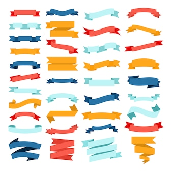 Vector set of different color flat ribbons on a white background.