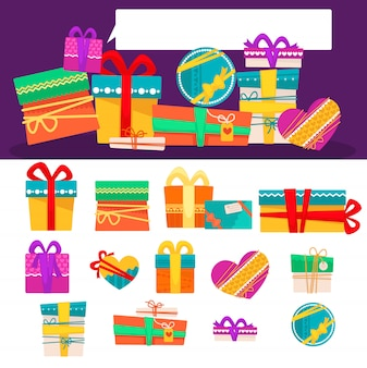 Vector set of different colorful gift boxes with ribbons and bows. flat design.
