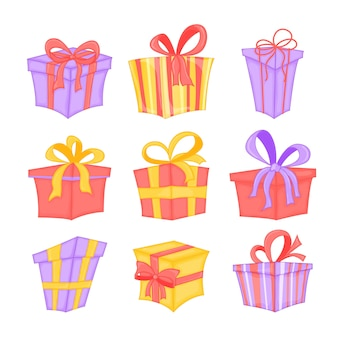 Vector set of different colorful wrapped gift boxes