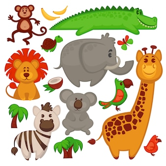 Vector set of different cute african animals