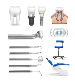 Vector set of different dental objects tools, lamp chair, drill, tooth implant and structure isolated on white background