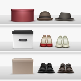 Vector set of different footwear and hats with brown, beige, white, black, maroon boxes on shelves
