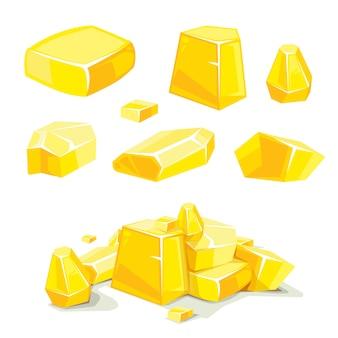 Vector set of different golden boulders