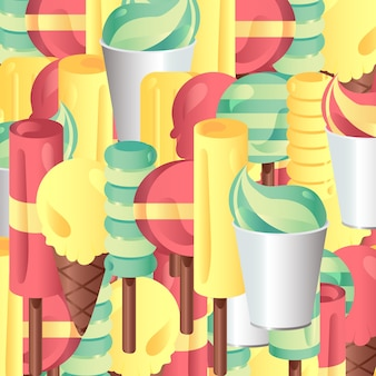 Vector set of different and gradient ice-creams