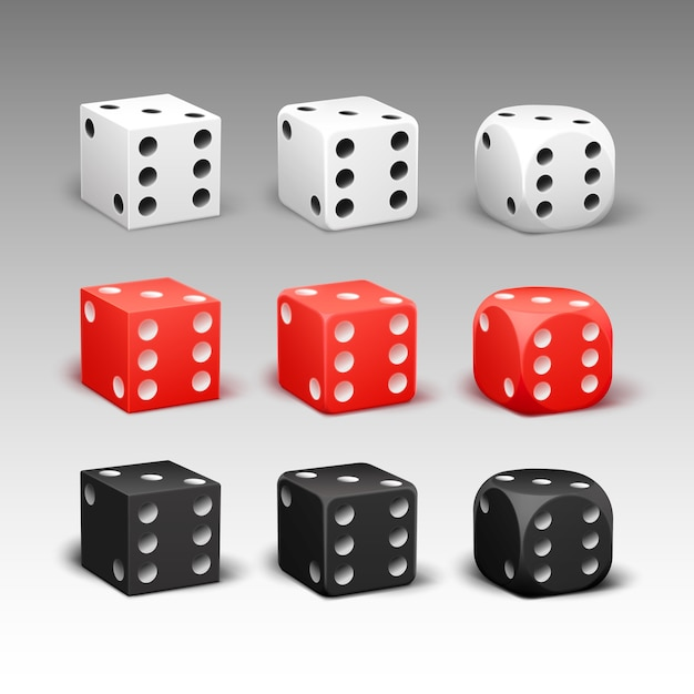 Vector set of different rectangular, rounded red, black, white dice isolated on background