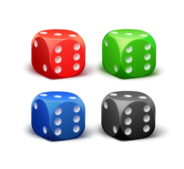 Vector set of different red, black, blue, green dice isolated on white background