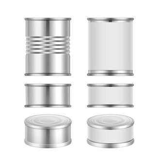 Vector set of different steel tin cans with blank packaging isolated on white background