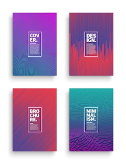 Vector set different style brochure flyer broadsheet design templates