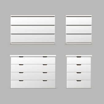 Vector set of different white drawers, nightstands or bedside tables front view isolated on background