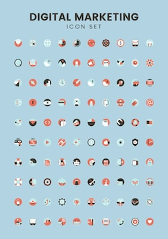 Vector set of digital marketing icons