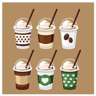 Vector set of disposable coffee. iced coffee glass with straw of different colors