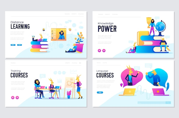 Vector set of distance education, consulting, training, language courses. web page  templates