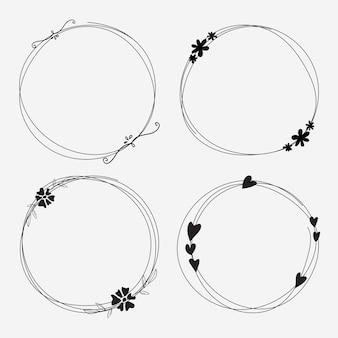 Vector set of dividers round frames for decoration.