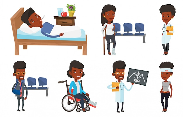 Vector set of doctor characters and patients.
