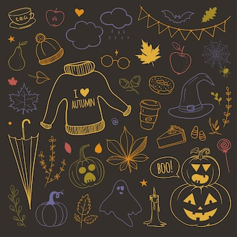 Vector set of doodles with autumn related objects yellow leaves pumpkins umbrellas warm sweater