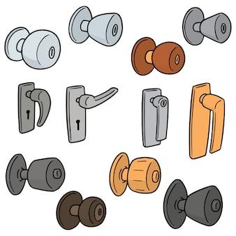Vector set of door knobs