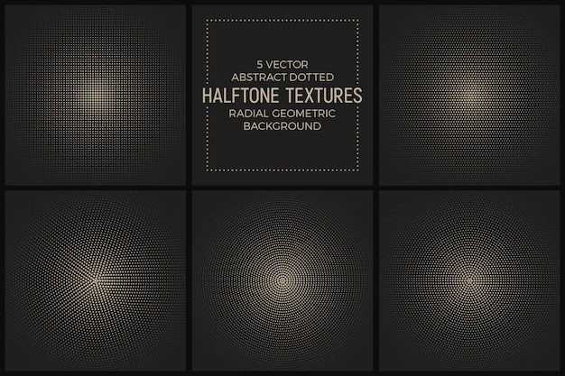 Vector set dotted radial halftone textures