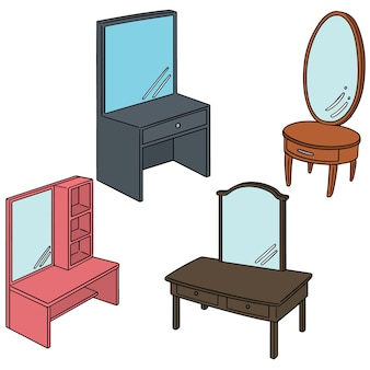 Vector set of dressing table