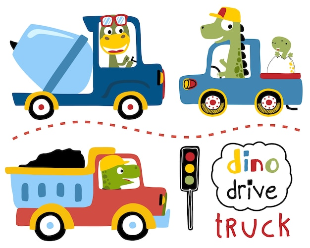 Vector set of driving trucks with dinos cartoon