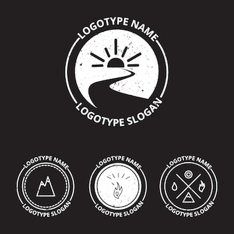 Vector set of ecology logotypes, icon and nature symbol: sun, river (water) in circle, mountains, hire, water