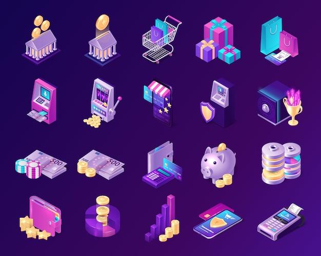 Insieme di vettore delle icone economiche di credito, pagamento, valuta e investimenti