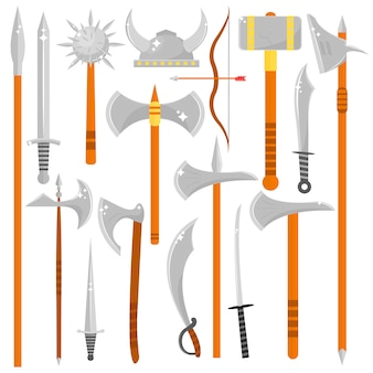 Vector set of edged weapons.